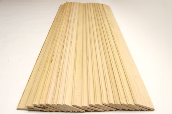 画像1: 天然木青森ヒバ 節無し 羽目板 板材 18枚(1坪:3.3平米)セット 長さ1820mm×幅100mm×厚さ10mm (1)